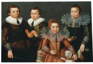 Familieportret van vier onbekende kinderen