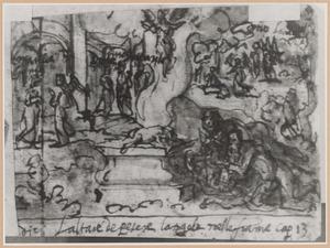 Manoach offert een geitebokje, nadat de engel de geboorte van Simson heeft voorzegd (Richteren 13)