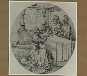 Salome geeft het hoofd van Johannes de Doper aan haar moeder