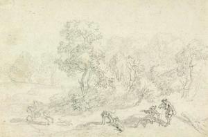 Boslandschap met ruiter te paard, twee mannen en honden