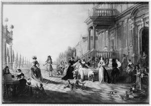 Elegant gezelschap op een terras voor een paleis