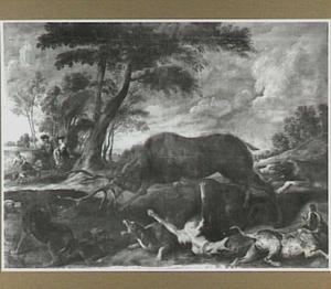 Jachthonden vechtend met een hert op open veld