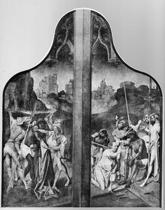 De bespotting (links); Christus op de koude steen (rechts)
