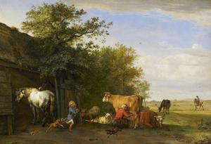 Landschap met paardenstal, melkmeid en rennend jongetje