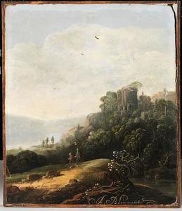 Berglandschap met ruïne