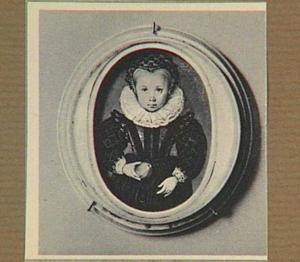 Portretminiatuur van een onbekend kind met een appel