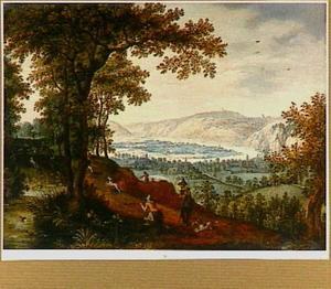 Bergachtig landschap met jagers
