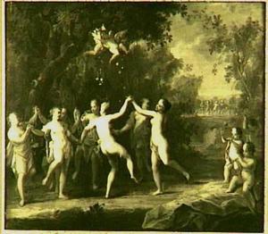 Dansende nimfen in een landschap