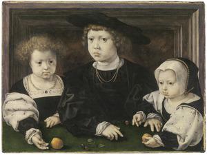 Portret van de drie kinderen van koning Christiaan II van Denemarken (1481-1559)