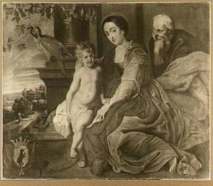 De heilige familie met een papegaai
