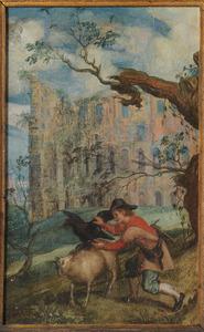De fabel van de adelaar en de raaf met op de achtergrond het Colosseum