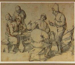 Rokende en drinkende boeren rond een tafel