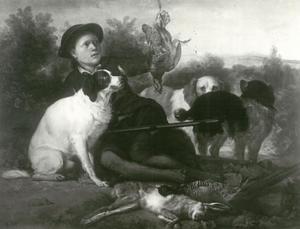 Rustende jager met  jachthonden naast zijn jachtbuit