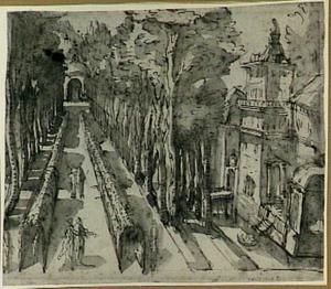 Gefantaseerd parklandschap met paleis en figuren