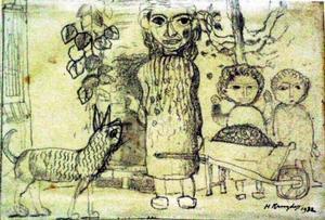 Boerenvrouw en kinderen achter kruiwagen