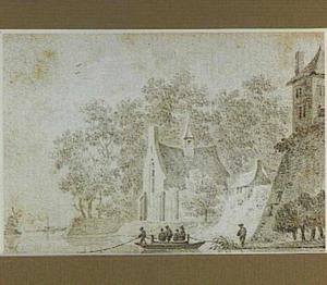 Veerpont bij een stadswal met kapel