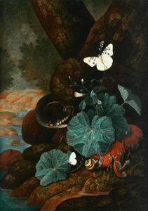Bosstilleven met een slang, slak en vlinders
