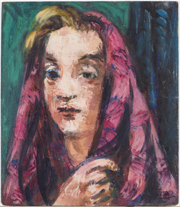 Vrouw met rode shawl