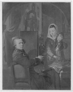 Zelfportret van  Johann Jacob Dorner (1741-1813) met zijn familie