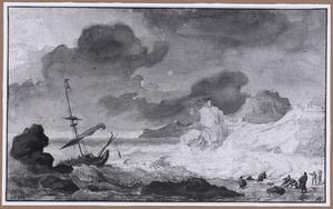 Gehavend schip aan land getrokken bij een rotskust tijdens storm