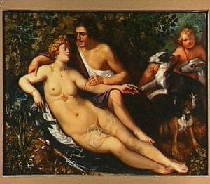 Venus en Adonis als minnaars