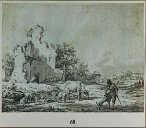 Herder met hond en vee bij een ruïne