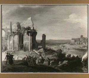 Zuidelijk landschap met Aaron die het water van de Nijl in bloed verandert (Exodus 7:19-21)