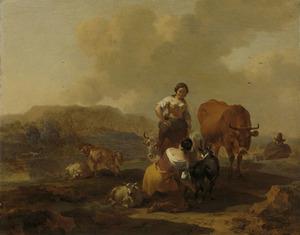 Italiaans landschap met twee herderinnen