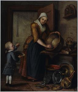 Keukeninterieur met een vrouw die een ketel schoonmaakt met naast haar een jongetje dat kersen eet