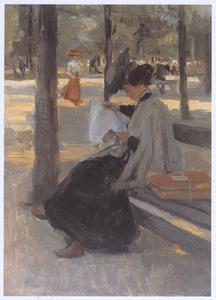 Een jonge vrouw lezend in Bois de Boulogne, Parijs