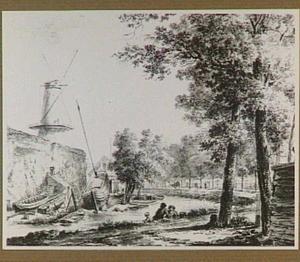 De bocht in de Stadsbuitengracht ter hoogte van de noordwesthoek van de stad Utrecht met de molen De Meiboom en een timmerwerf