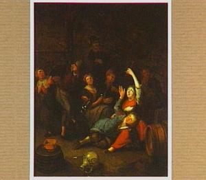 Feestend volk in een interieur; drinkend, rokend en dansend bij vioolspel