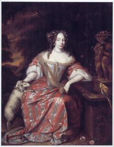 Portret van een vrouw, zittend in een tuin, met een lam en een papegaai