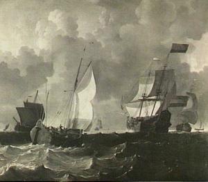 Wijdschip, oorlogsschip (de 'Friesland'?) en andere vaartuigen op een woelig water