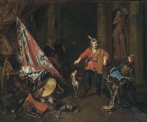 Soldaten in een wachtlokaal met links een stilleven van oorlogsattributen