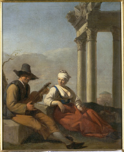 Een jonge vrouw en een violist, zittend bij een ruïne