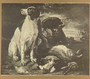 Jachtbuit van gevogelte en haas met links een hond