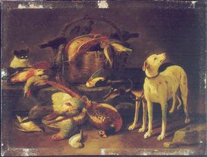 Twee honden en een kat bij een stilleven van dode vogels