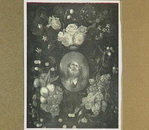 Bloemen en vruchten rond cartouche met daarin een  voorstelling van de heilige Andreas