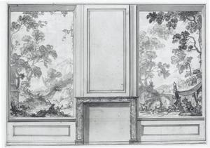 Ontwerp voor kamerwand met twee behangsels met een arcadisch landschap ter weerszijden van een schoorsteen