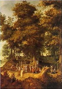 Landschap met prediking van Johannes de Doper