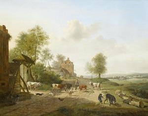 Zonnig landschap met herders en hun vee op een zandweg