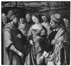 Tamar toont de ring en staf van Juda (Genesis 38)