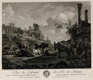 Zuidelijk landschap met pakezels, vee en ruïnes