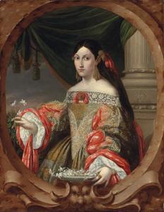 Portret van een dame, in een gebeeldhouwde cartouche