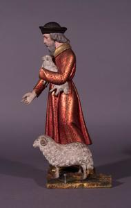 De drie vrienden van Job dragen een brandoffer op om op zijn voorspraak het mededogen van Jahweh op te wekken: figuur geheel rechts met twee schapen
