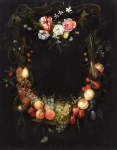 Cartouche stilleven van fruit en bloemen