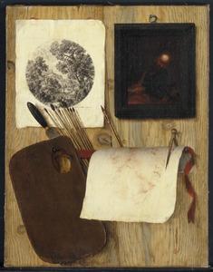 Trompe l'oeil met schildersgerei, schilderijtje en prent