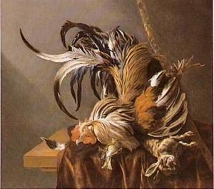Stilleven met dode haan, dood konijn en vinkje
