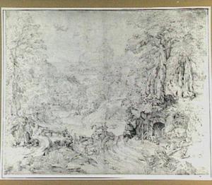 Berglandschap met herder en geiten